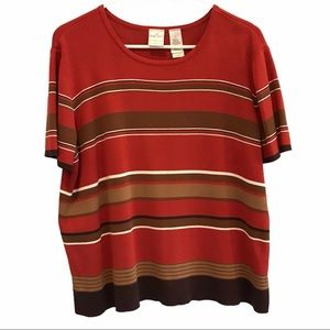 Liz Claiborne women's rust striped sweater size 1